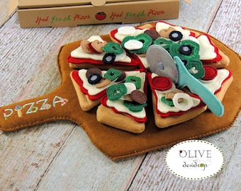 """Deluxe Make Your Own 10"""" Pizza, Wool Felt Play Set, 8 Slices, Toppings, Pizza Box, Pizza Peel, Pizza Cutter and  Bonus Pizza Delivery Bag"""
