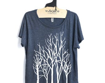 2XL-  Tri-Blend Navy Dolman Tee with Branch Trees Screen Print