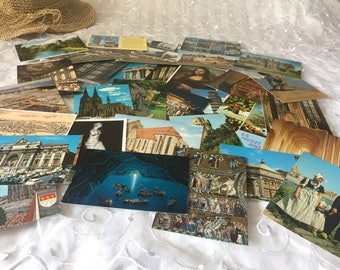 Vintage European postcards from the 60s 70s and 80s, HUGE Lot of Great Postcards 32PC