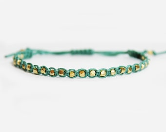 Gold Nugget Beaded Bracelet - Adjustable - Beaded Friendship Bracelet