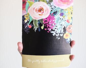 Black Floral Pretty Bible Study Journal