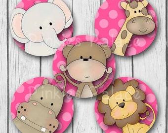 Jungle Animal Stickers Elephant Giraffe Monkey Hippo Lion Hot Pink Envelope Seals Favor Bags Girls Birthday Baby Shower