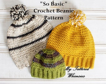 "Crochet Pattern ""So Basic"" Beanie, Fitted or Slouchy Hat, Baby, Kids, Teen, Women, Men, Adult sizes"