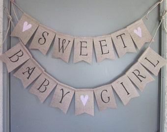 Baby Girl Shower Banner - Sweet Baby Girl Banner - Girl Shower Burlap Banner - Rustic Chic Baby Girl Shower - Baby Girl Garland Bunting