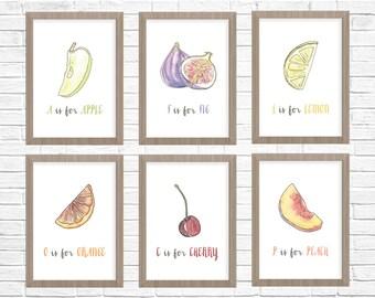 Alphabet Prints // Nursery Prints // Alphabet Poster // Fruit Printable Wall Art