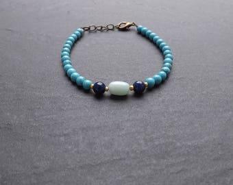"""Dawn"" bracelet with howlite, lapis lazuli and amazonite beads"