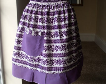 Vintage Apron - a Purple Floral and Frilly Half Apron - Handmade