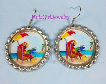 Parrot In Paradise,  Jimmy Buffett Inspired, ParrotHead, Fun, Parrot Head Bottle Cap Earrings