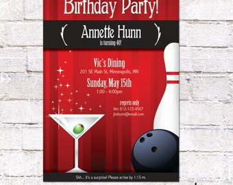 Birthday Party Invitation - Cocktails & Bowling. Retro/Mad Men. Digital File to Print Yourself.