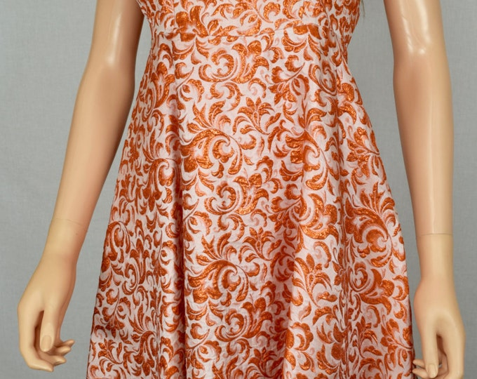 Vintage 1950's Women's Orange Metallic Brocade Floral Embroidered Formal Couture Party Dress Size XS