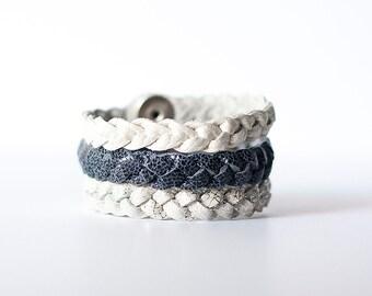 Braided Leather Bracelet Trio / Snow Day