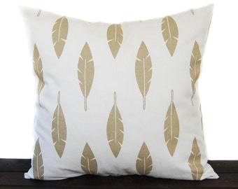 Decorative Throw pillow cushion covers Metallic Gold and White, Athena Gold Feather