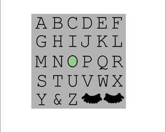 Printable 23cmx23cm Alphabet print