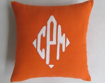 diamond monogram pillow 18 inch orange and white - custom made