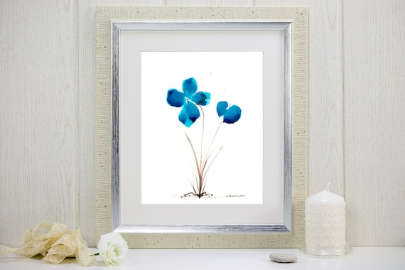 "Art print of watercolor flowers: ""Bluest of Blue Flowers"""