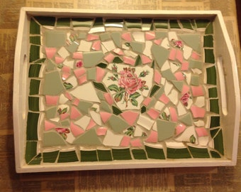 Shabby Chic Broken China Mosaic Tray created from vintage rose plates