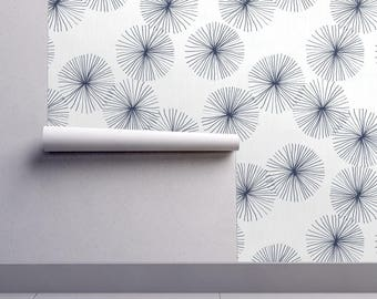 Mod Wallpaper - Dandelions White Navy By Friztin - Midcentury Modern Custom Printed Removable Self Adhesive Wallpaper Roll by Spoonflower