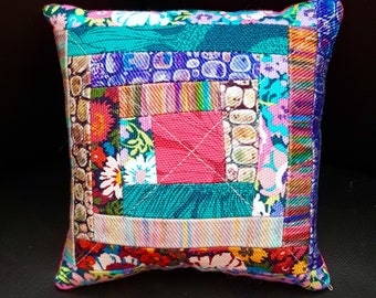 Pincushion, Pieced Log Cabin, Scrappy Traditional Block, Patchwork, Sewing, Quilting, Needlework, Gift, Liberty of London Print