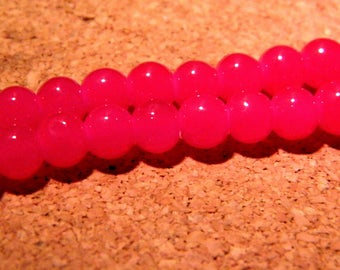 "45 ""jade"" 6 mm - raspberry PE231 6 glass beads"
