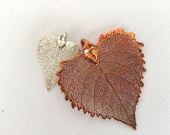 "Copper and Silver  REAL Cottonwood Leaf set of TWO pieces- 1"" and 2"" long  - Asymmetrical-"