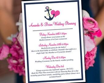"Beach Wedding Itinerary Template Wedding Planner ""Anchor Love"" Dark Navy Candy Pink Destination Wedding Coordinator Wedding Guest Gift Bag"