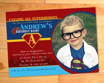 Superhero Birthday Invitation, Superhero Invitation, Superhero Invite, Custom Superman Photo Card, Birthday Party Invitation