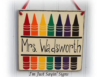Custom Teacher Pencil Name Wood Sign