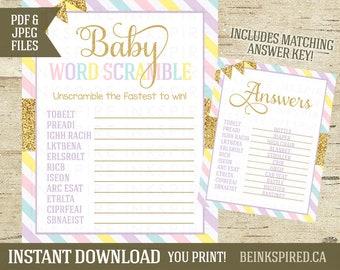 Unicorn Baby Shower, Unicorn Baby Word Scramble Game, Unicorn Shower Game, Unicorn Party Game, Rainbow, Printable, INSTANT DOWNLOAD, KAD