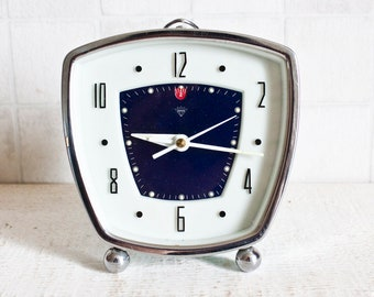 Vintage China SHANGHAI DIAMOND FACTORY Mechanical Blue Alarm Clock || Retro/ Mid Century - Turquoise Color Clock