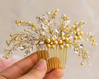 Gold Bridal Hair Comb Floral Gold Hair Comb Gold Headpiece Gold Bridal Back Comb Pearl Bridal Hair Comb Bridal Headpiece