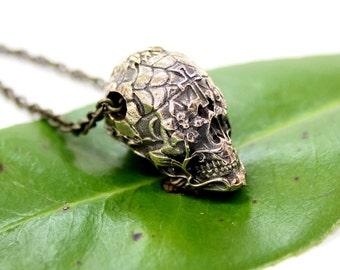 Sugar Skull Necklace Bronze Sugar Skull Pendant Necklace Day of the Dead 153