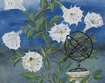 Datura and Armillary Globe -  Original Painting -  18 x 22 inches - by Kate Ladd