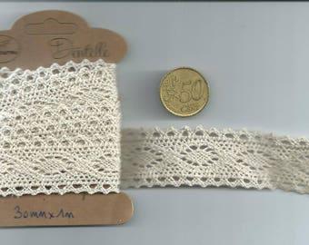 (Width 30mm - 1 m length) - color cotton lace: ecru
