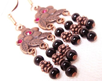 Adorable Flower Copper Ruby Earrings, Jewelry