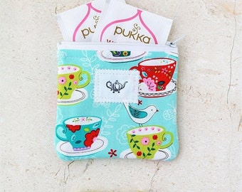 ON SALE Tea accessories, Tea Bag, Tea Wallet, Tea Gifts, Tea Time zipper pouch Travel tea holder fabric pouch Gift for her tea lover large m