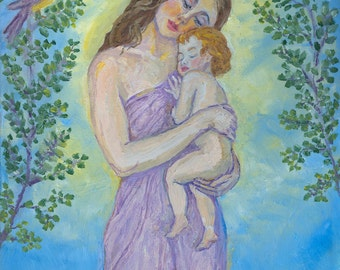 Mother and Child - PRINT Art - Matted 8x10 image.  Mother and baby artwork, Art Nursery Decor, by Alla Gerzon