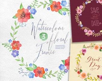 Watercolour Floral Frames: 8 digital files. Handmade, watercolour clipart, wedding diy elements, flowers wreath, invite, quote frame