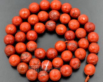 Faceted Red Jasper Beads 6mm, 8mm Red Jasper Beads, Round Beads, Red Gemstone Beads, Jewelry Beads, Faceted beads, Stone beads, 15''5 st.