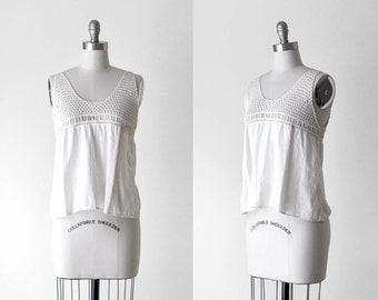 Edwardian blouse. 1910's white tank. camisole. ivory. crochet lace top. antique blouse. small.