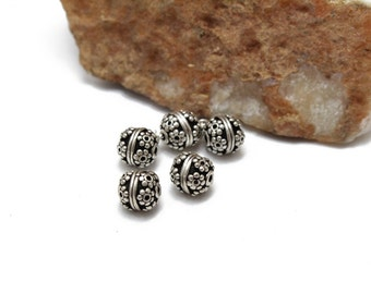 Sterling Silver 925 Bali Style orné perles 8mm 2p.