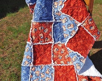 On Sale Flag and Stars Rag Quilt - Lap Rag Quilt - Patriotic American Flag and Stars Lap Quilt - red, blue - Fourth of July - Gift for her
