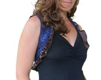 Velvet Bolero Vest - Blue Brown Ruffles
