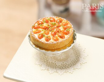 MTO - French Apricot Tart (Tarte aux abricots) - Miniature Food in 12th Scale for Dollhouse