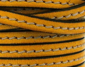 Leather Strip 5 mm yellow gold stitching, sold by 20 cm