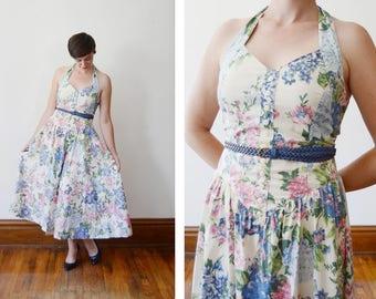Cotton 1980s Floral Halter Dress - M
