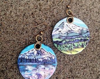 Mt Rainier - pdx hand-painted earrings - Seattle, Washington mountain