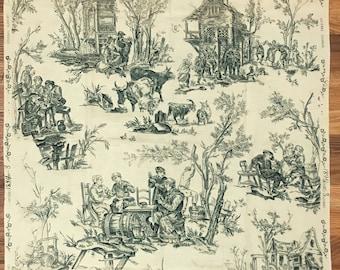 Antique Beautiful 19th C. French Scenic Toile Cotton Print (8200)
