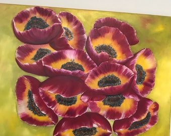 OIL PAINTING ''poppies fantasy floral''