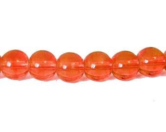 10 x 4mm pumpkin glass round beads