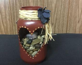 Mason jar glass candle holder/vase